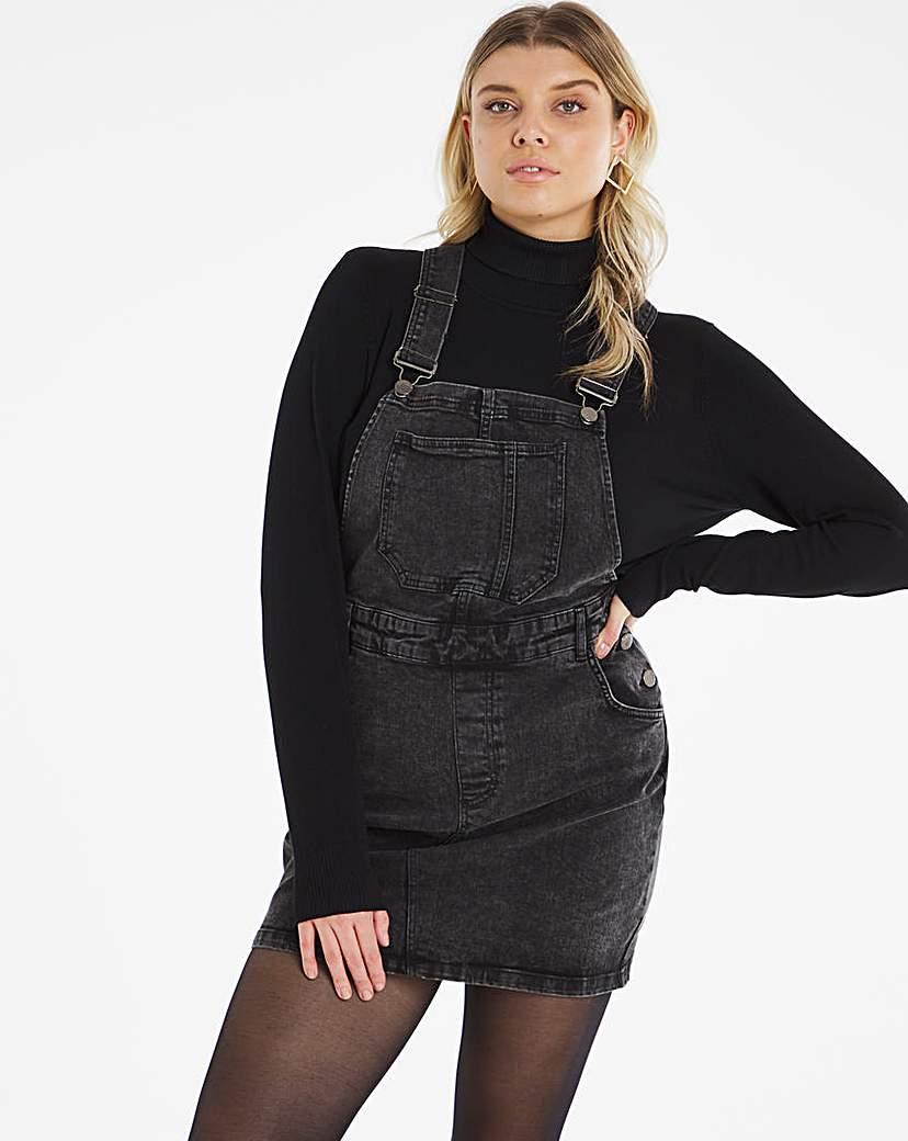 Simply Be Black Acid Wash Dungaree Dress