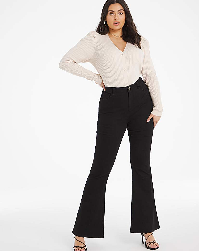 Simply Be Black Chloe Flare Jeans