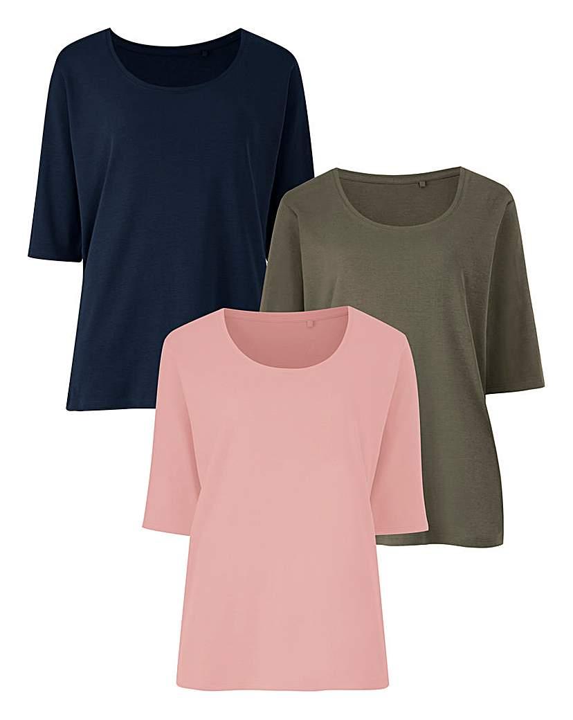Navy/Khaki/Pink Pack Of 3 T-Shirts
