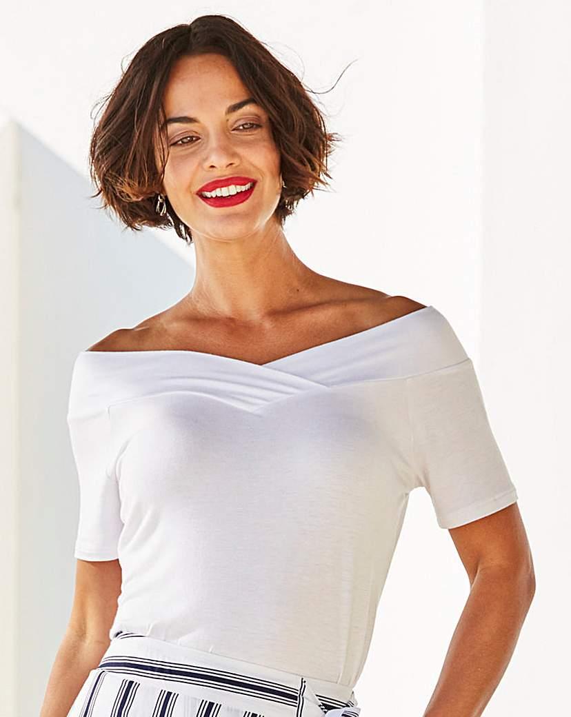 1950s Rockabilly & Pinup Tops, Shirts, Blouses White Short Sleeve V Neck Bardot Top £16.00 AT vintagedancer.com