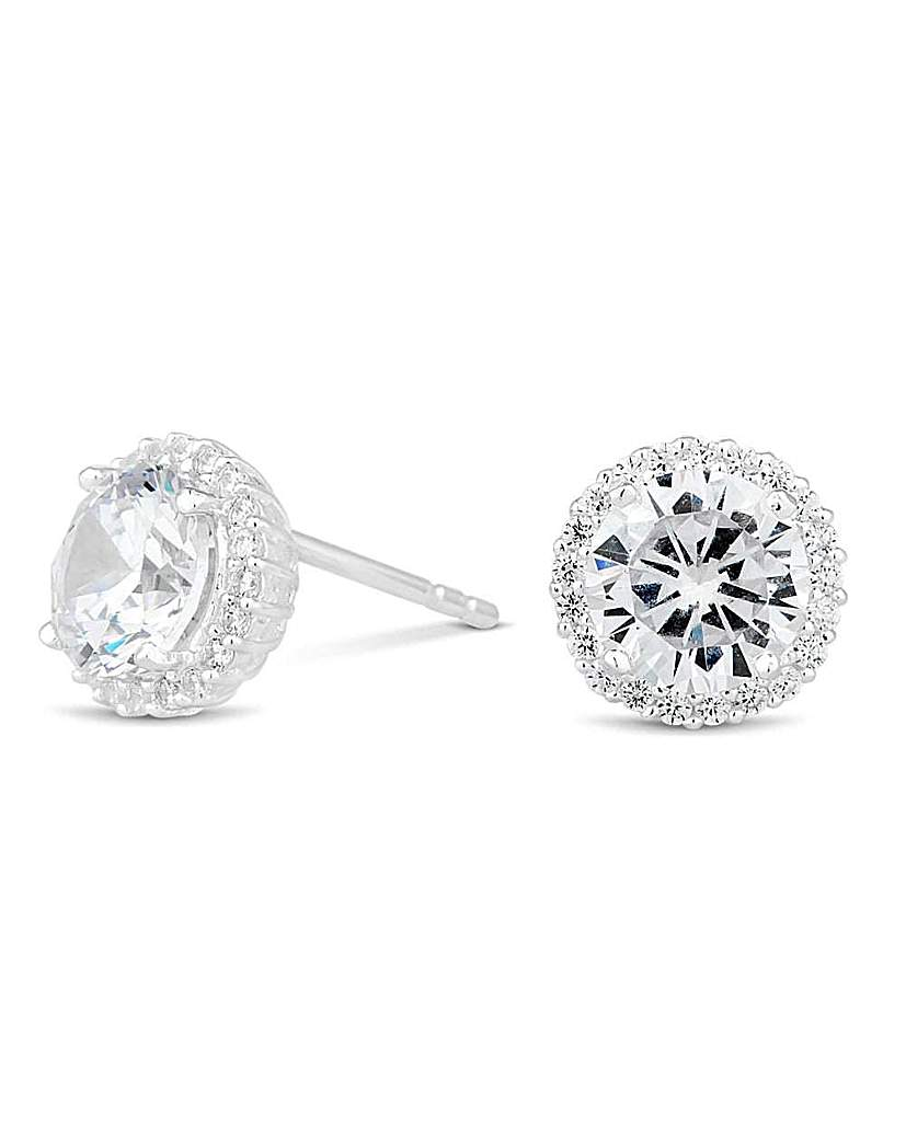 Simply Silver by Jon Richard Simply Silver Pave Surround Stud Earring