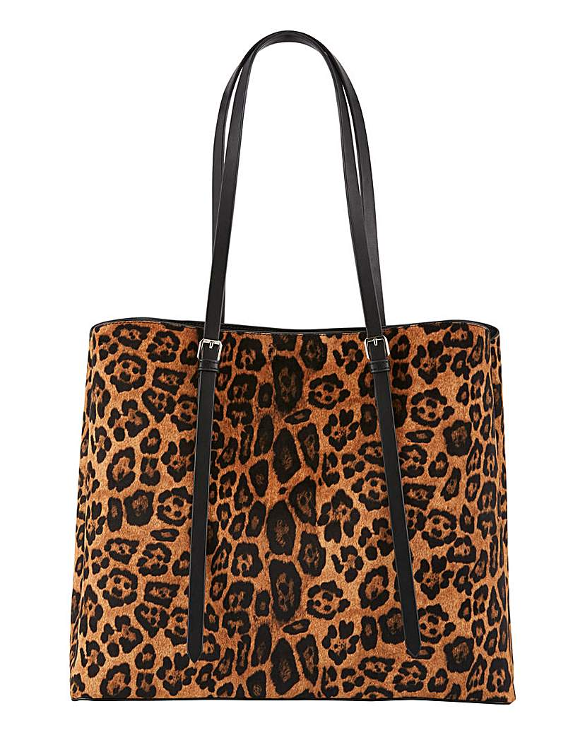 Simply Be Leopard Buckle Detail Tote