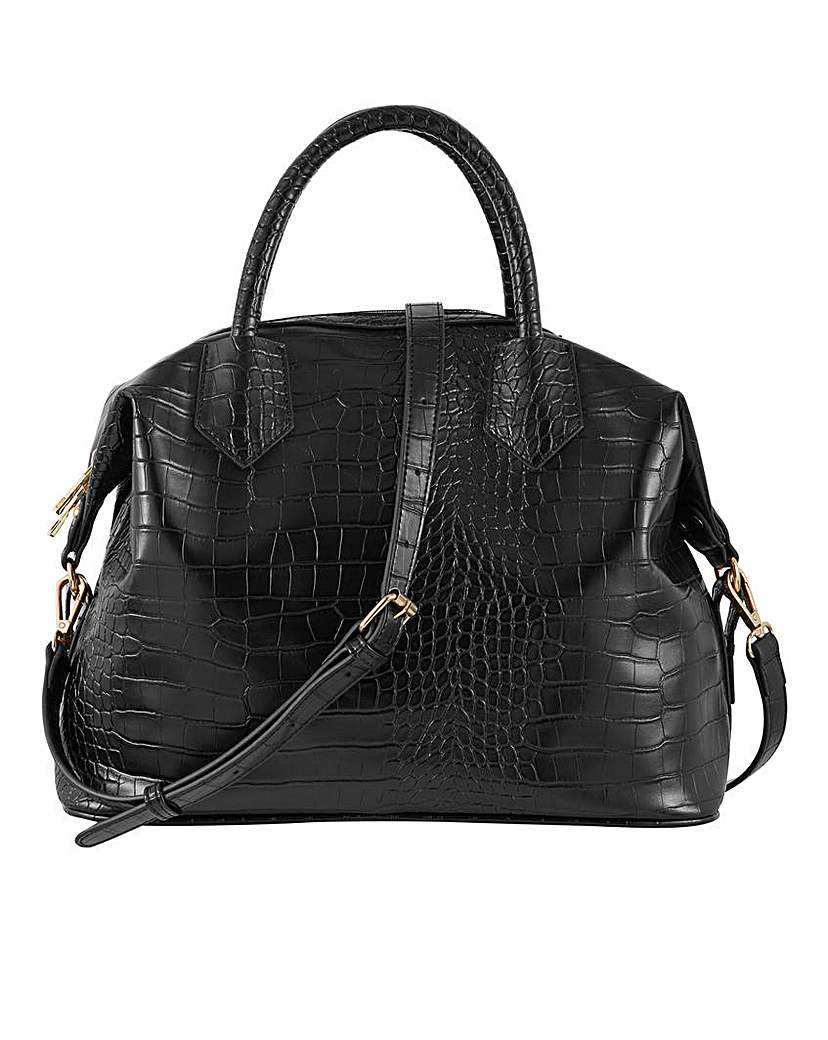 Simply Be Black Croc Top Handle Work Bag