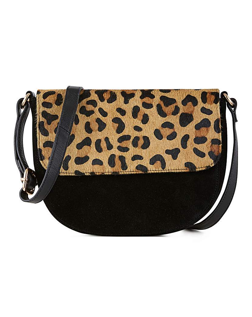 Simply Be Leather Flapover Leopard Crossbody