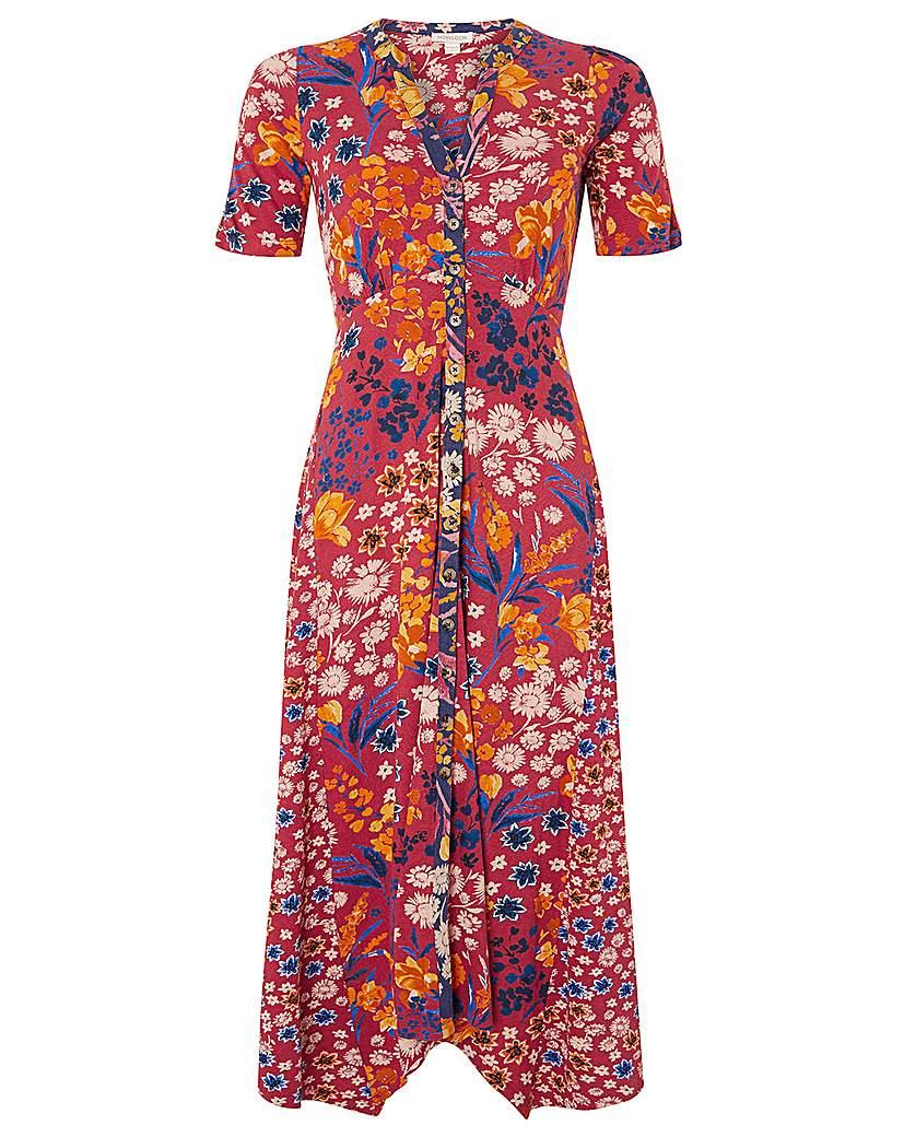 Monsoon Josie Print Hanky Hem Midi Dress