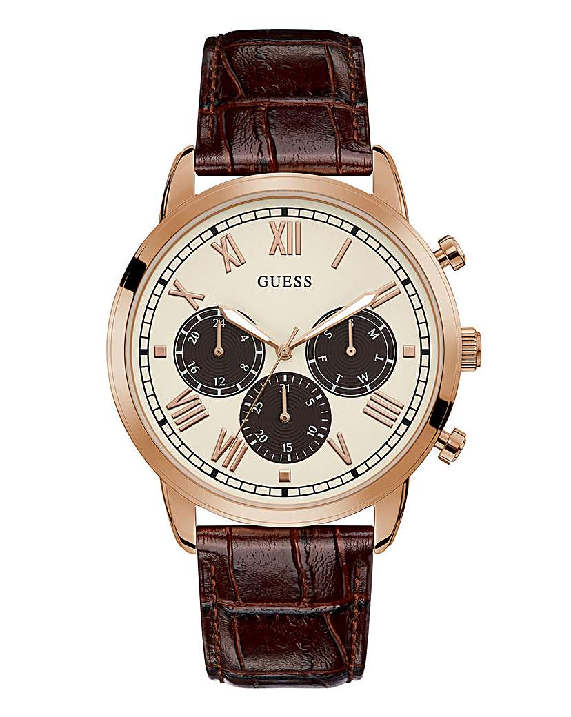 Guess Guess Leather Strap Hendrix Watch