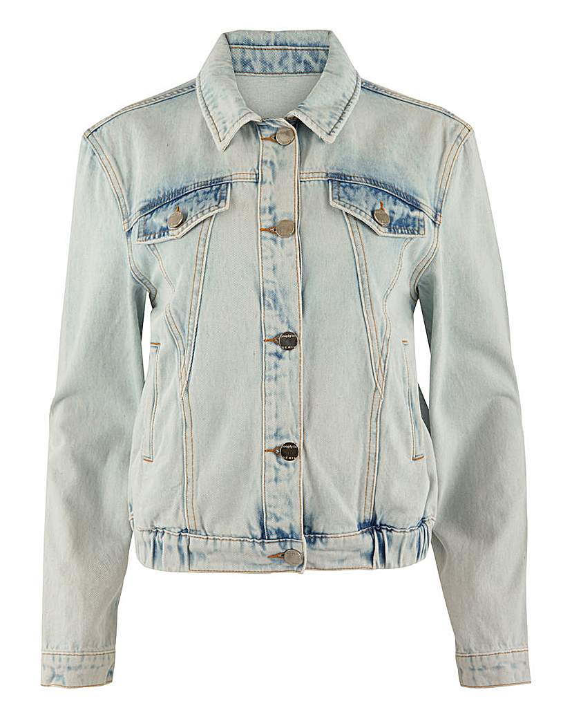 Simply Be Bleach Acid Wash Cropped Denim Jacket
