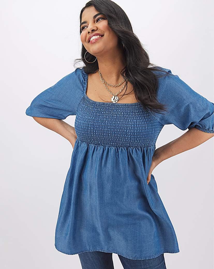 Simply Be Blue Tencel Shirred Puff Sleeve Tunic