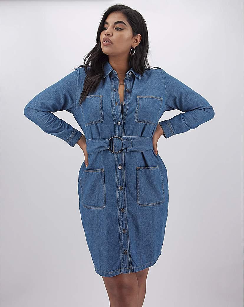 Capsule Vintage Blue Belted Denim Shirt Dress