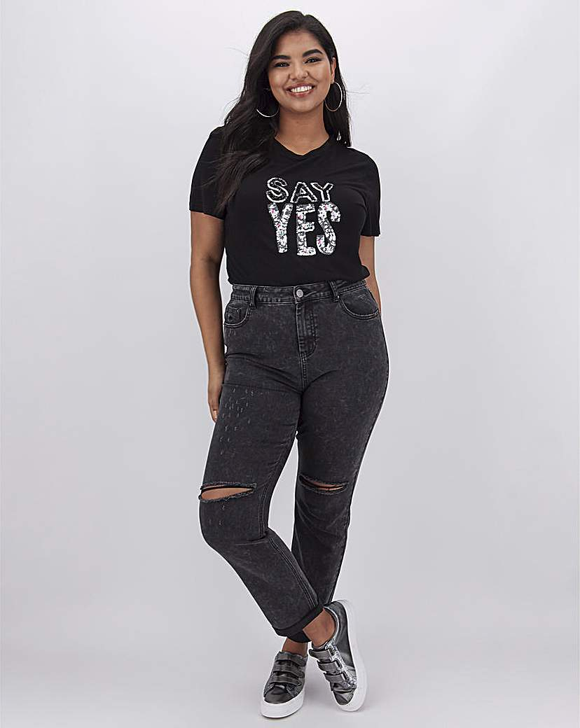 Simply Be Washed Black Demi Ripped Mom Jeans