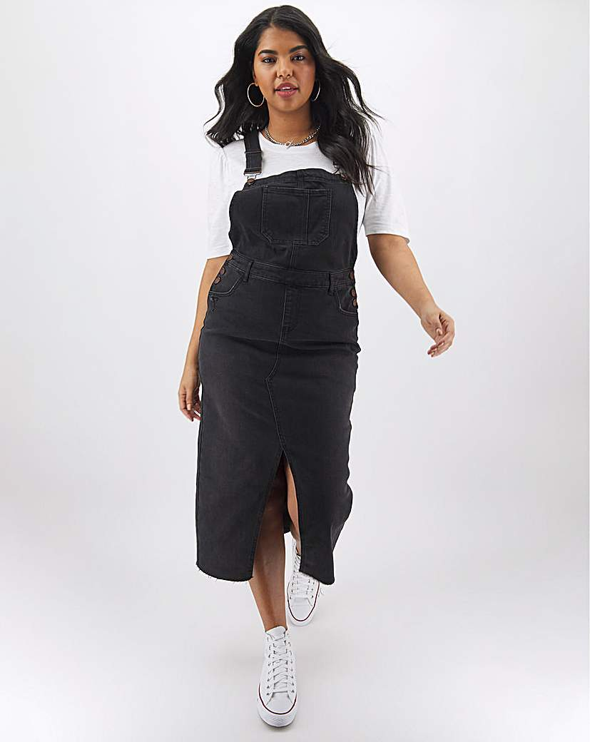 Simply Be Washed Black Maxi Dungaree Dress