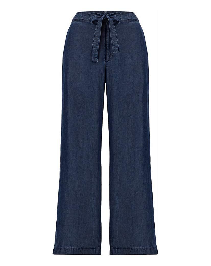 Capsule Indigo Tencel Belted Wide Leg Trousers