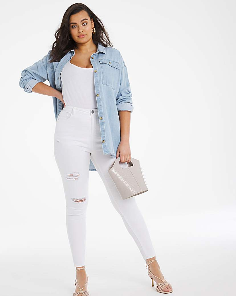 Simply Be Chloe White Ripped Skinny Jeans