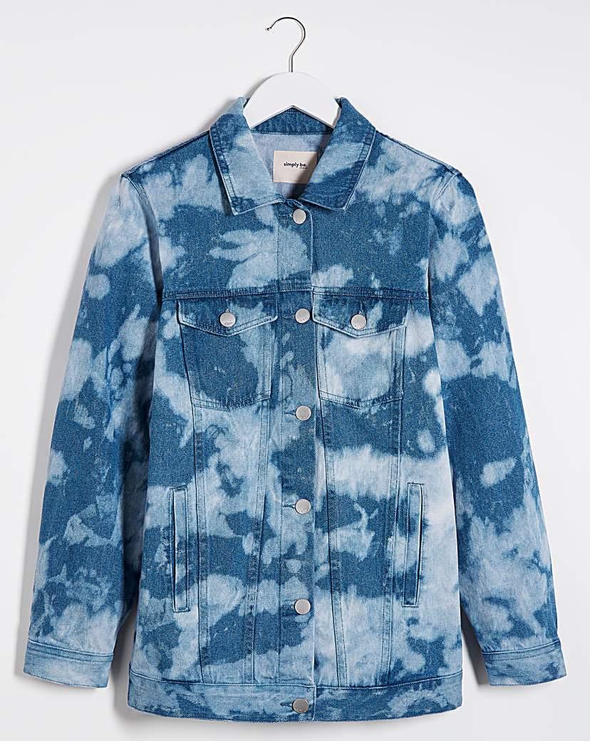 Simply Be Bleach Tie Dye Oversized Denim Jacket