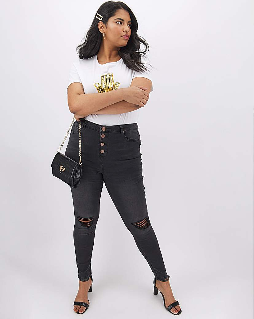 Simply Be Chloe Ripped Button Fly Skinny Jeans