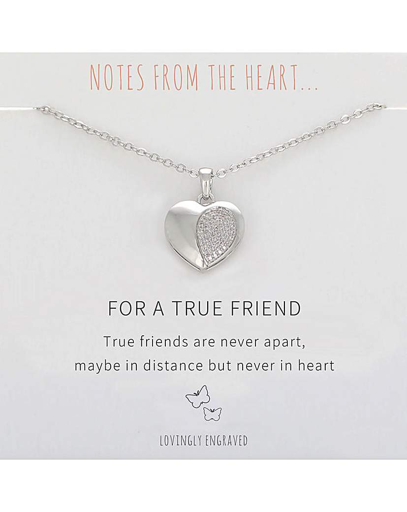 Notes From The Heart For A True Friend Heart Pendant