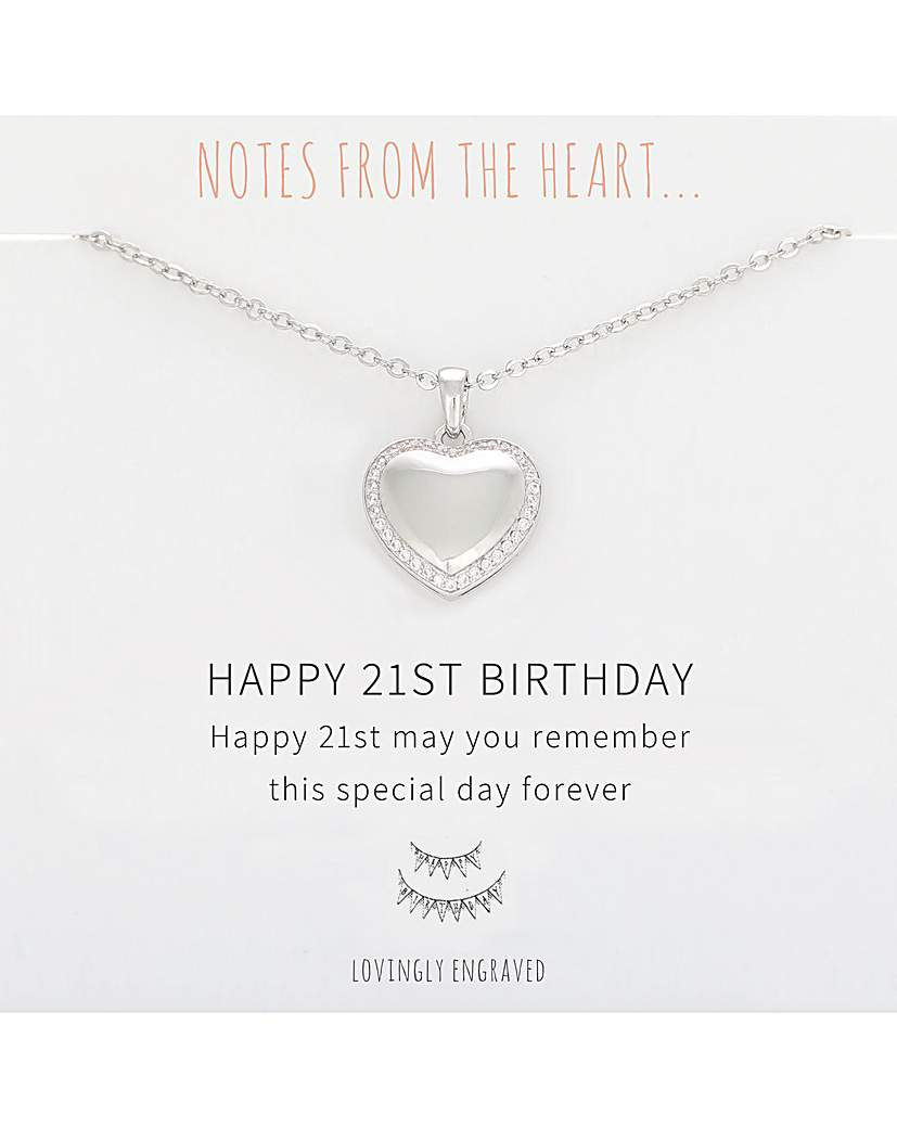 Notes From The Heart Happy 21st Birthday Heart Pendant