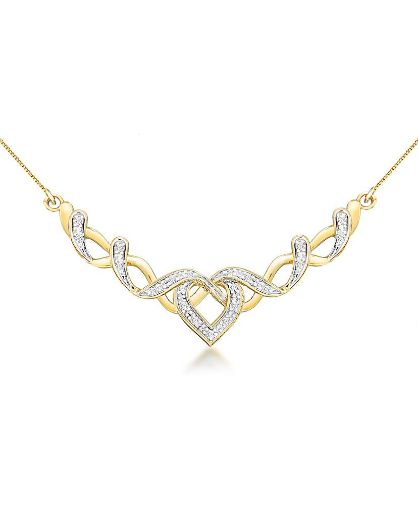 9ct Gold Diamond Heart Ribbon Necklace