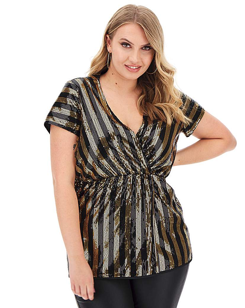 Simply Be Black/Gold Sequin Stripe Wrap Top