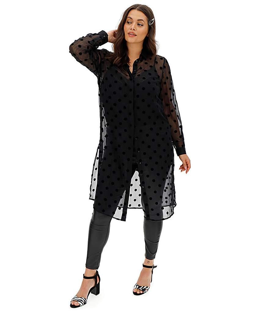 Simply Be Black Sheer Flocked Spot Long Shirt