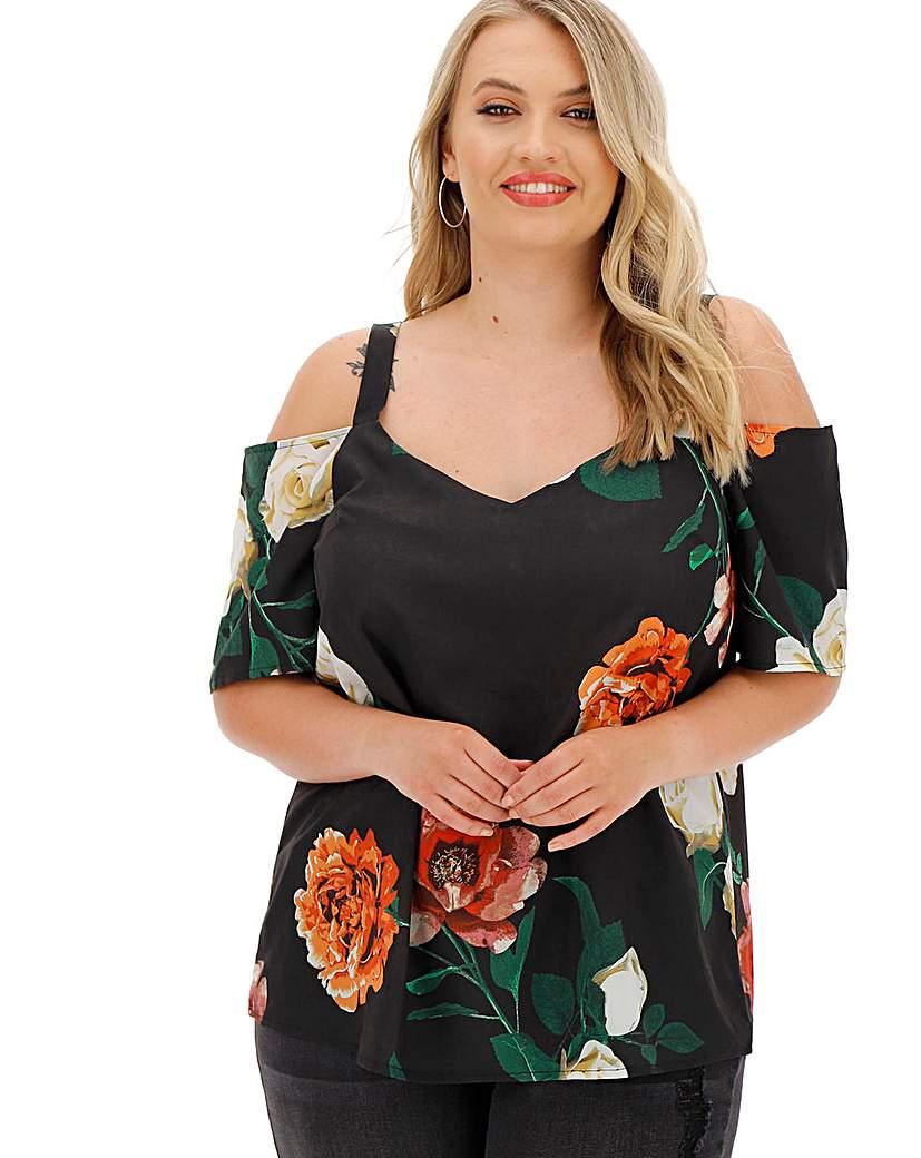 Simply Be Black Floral Cold Shoulder Blouse