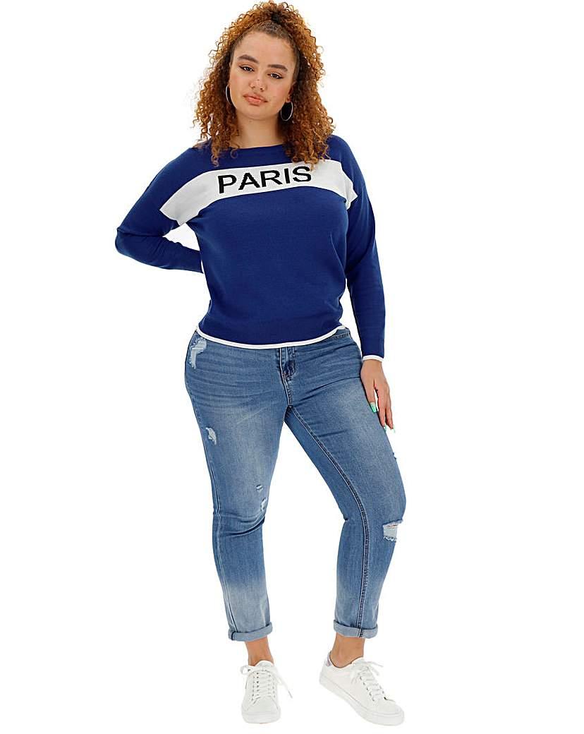 Simply Be Paris Slogan Jumper