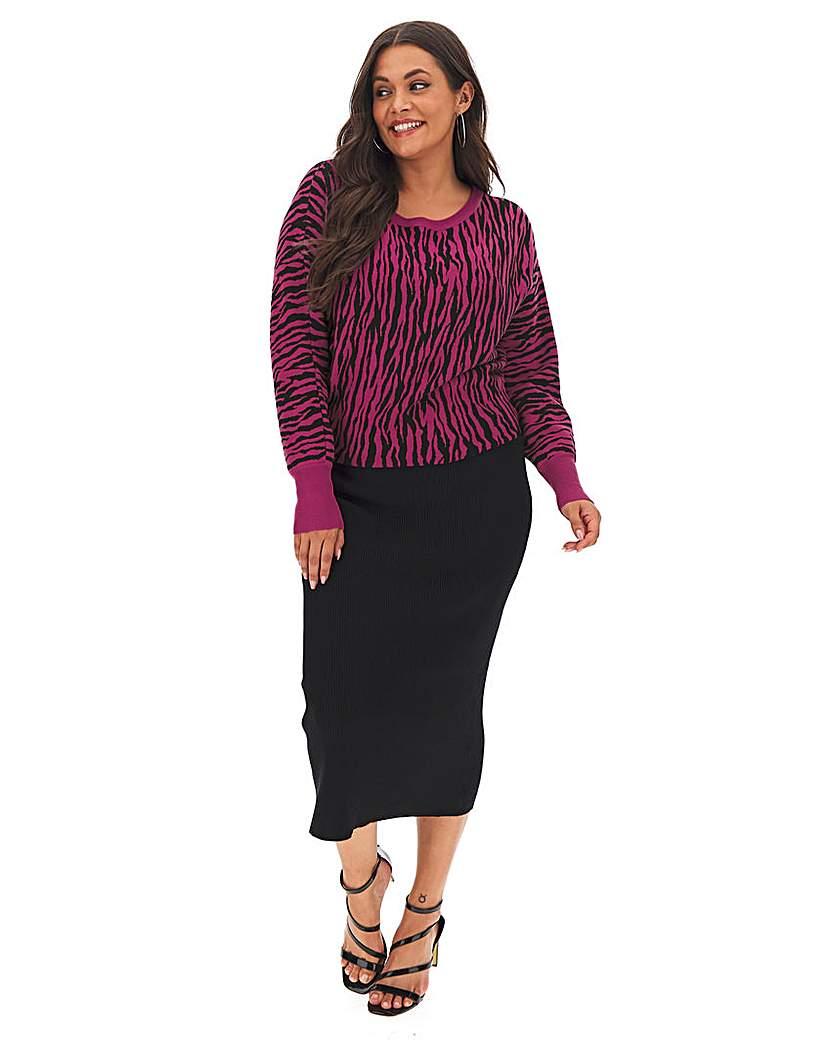 Simply Be Zebra Knitted Midi Dress
