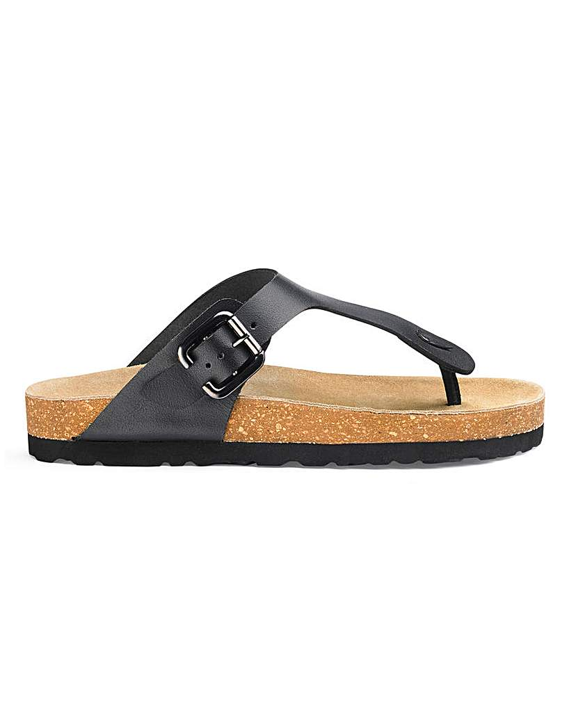 Leather Footbed Toe Post Sandals E Fit