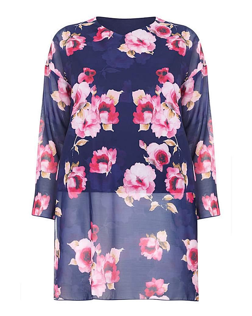 Blue Floral Sleeveless Tunic Shirt