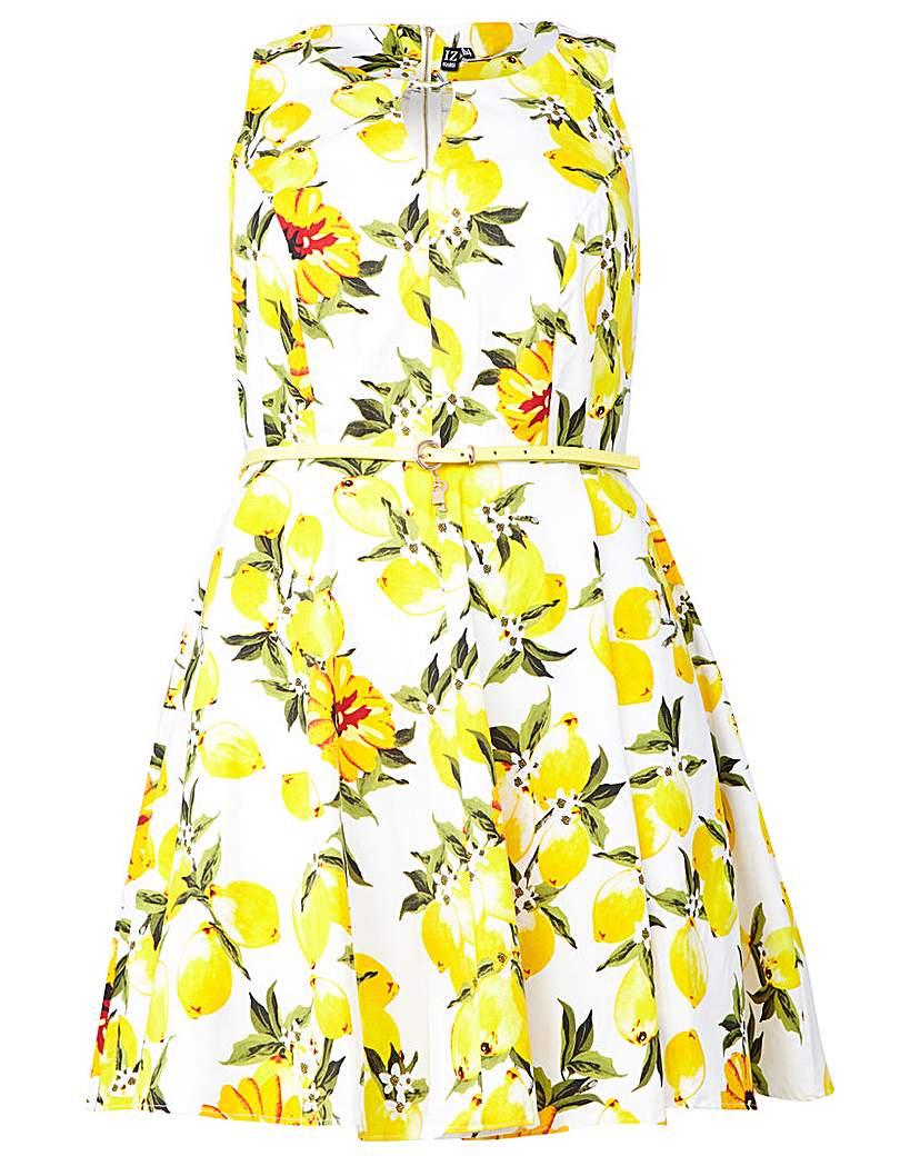 Izabel London Curve Lemon Print Dress