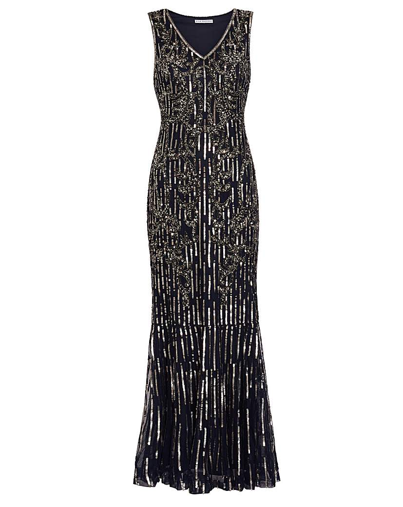 Vintage 1920s Dresses – Where to Buy Gina Bacconi Alundra Beaded Maxi Dress £429.00 AT vintagedancer.com