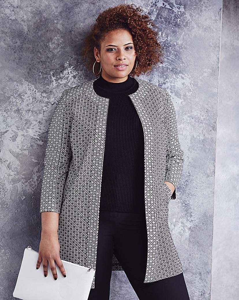 Simply Be Floral Jacquard Edge-to-Edge Jacket