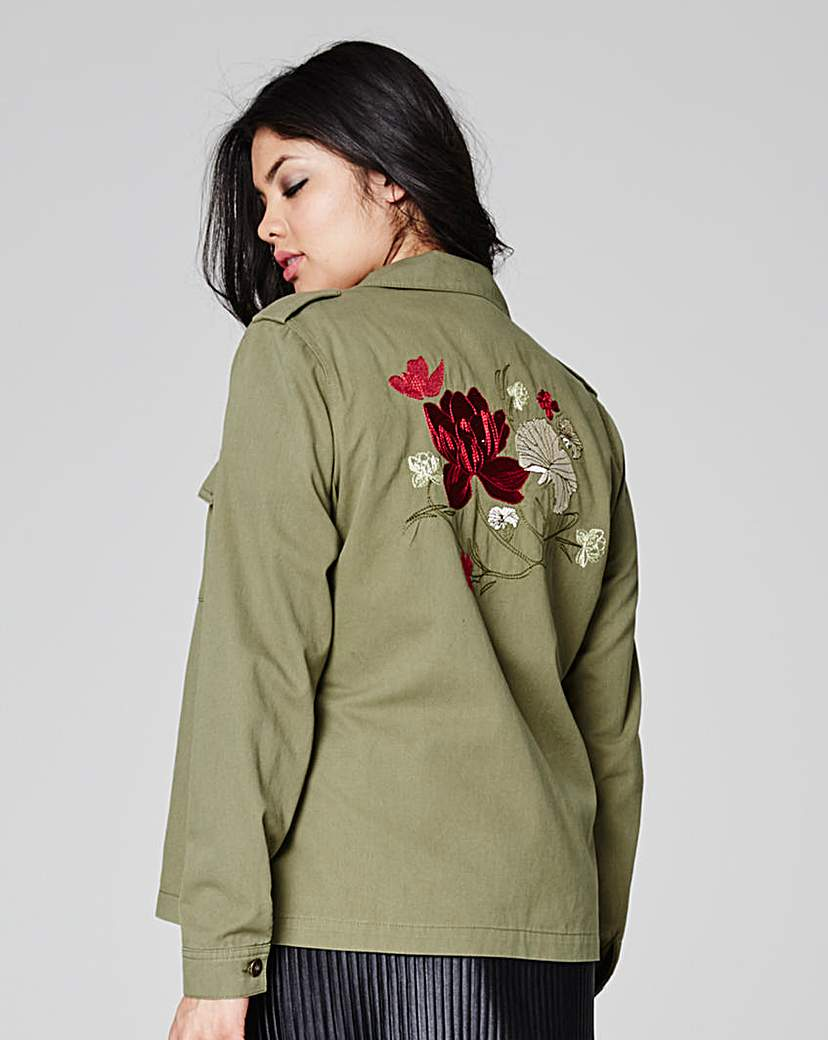 Simply Be Shacket With Embroidery