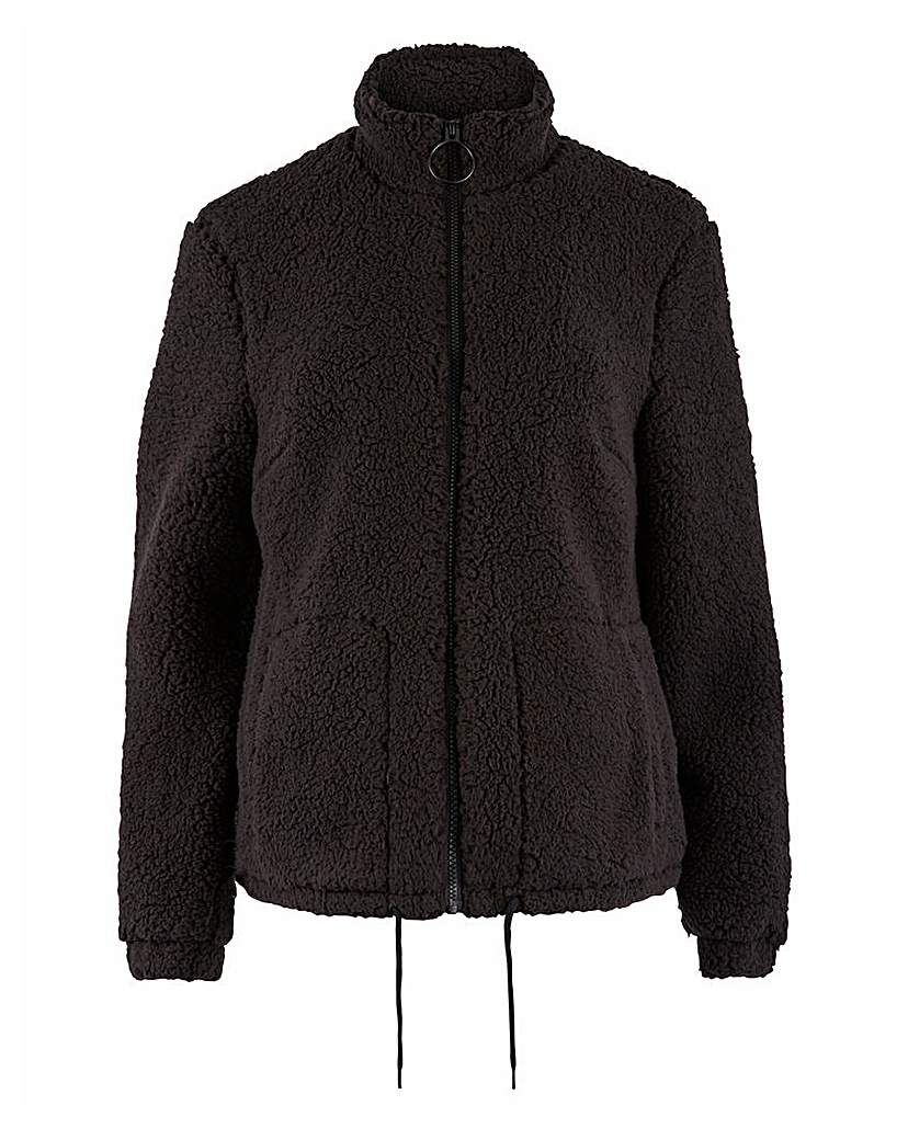 Simply Be Black Teddy Fleece Jacket