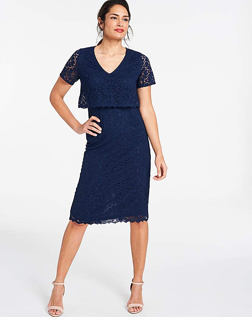 JD Williams Navy Lace Layered Dress