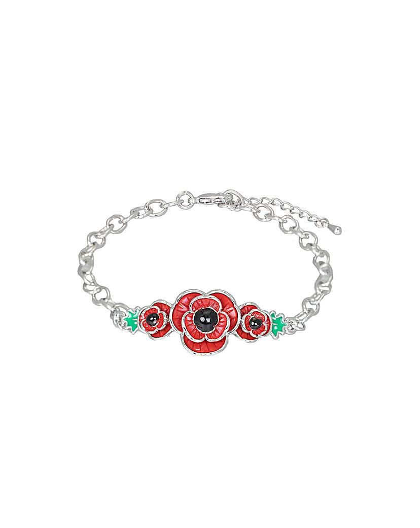 Simply Be Rhodium plated enamel Poppy bracelet