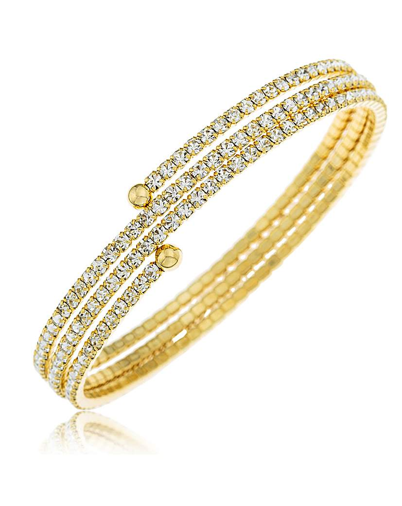 Crystal Glitz Gold Plated 3 Row Bangle