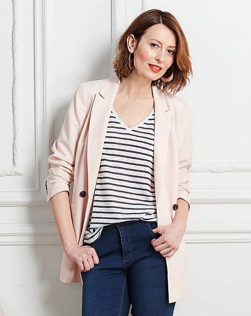 Image of Double Breasted Crepe Blazer