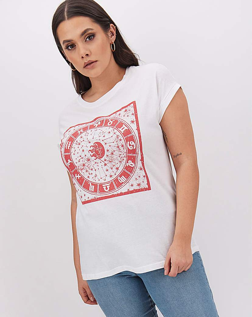 Simply Be Celestial Print Slogan T Shirt