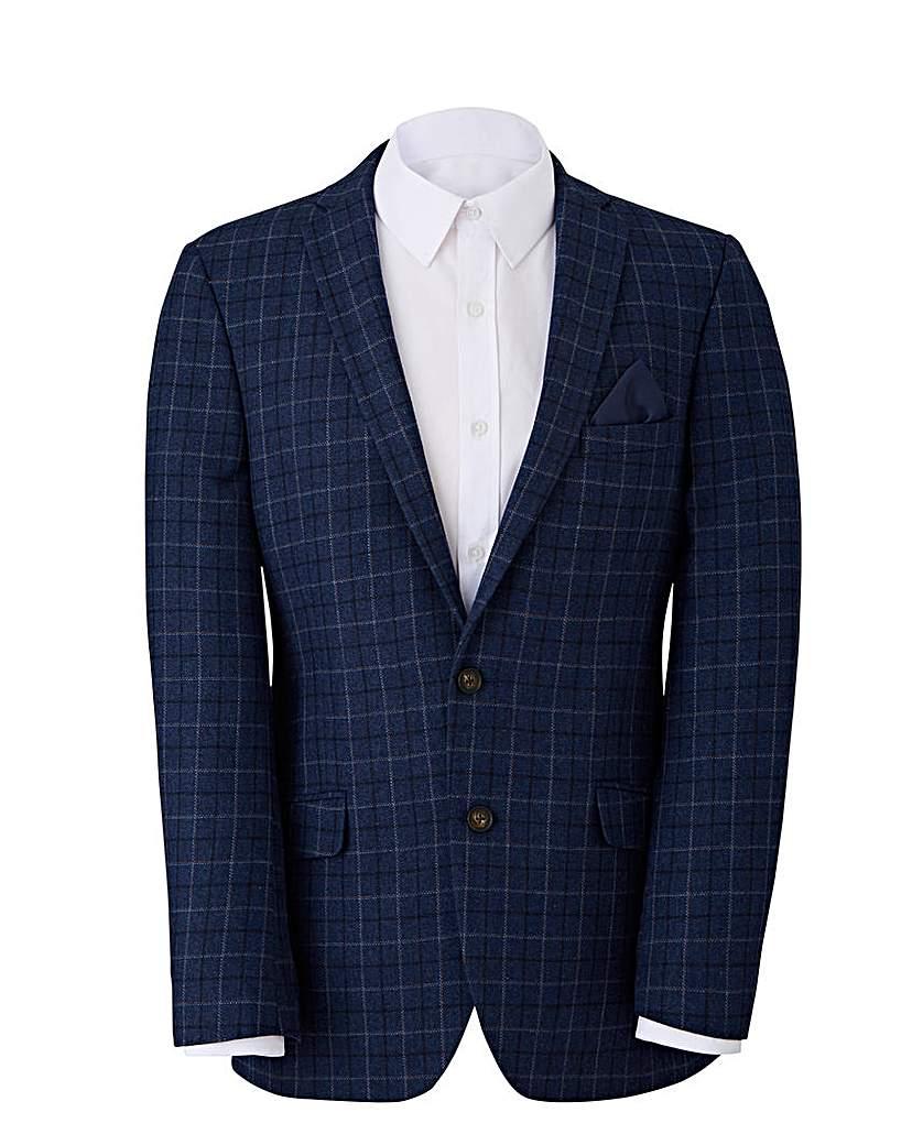 W&B Navy Check Wool Mix Blazer R