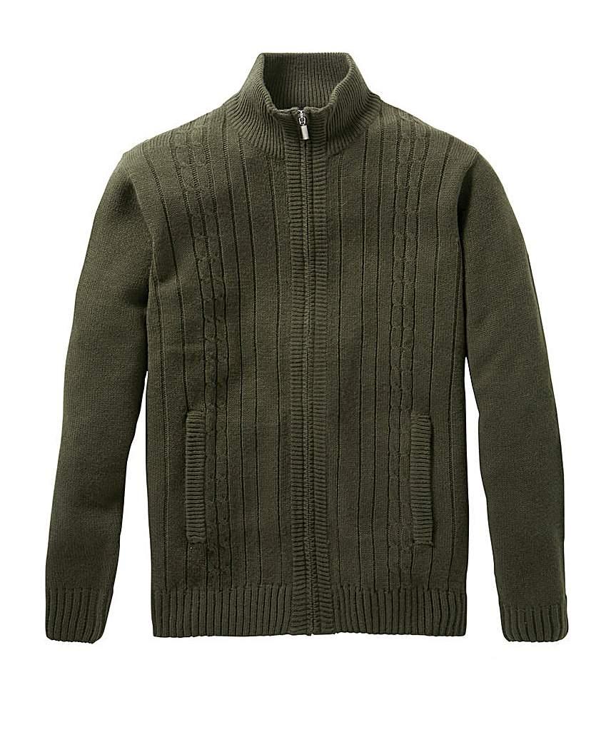 Men's Vintage Sweaters – 1920s to 1960s Retro Jumpers Premier Man Khaki Zip Cable Cardigan R £24.50 AT vintagedancer.com