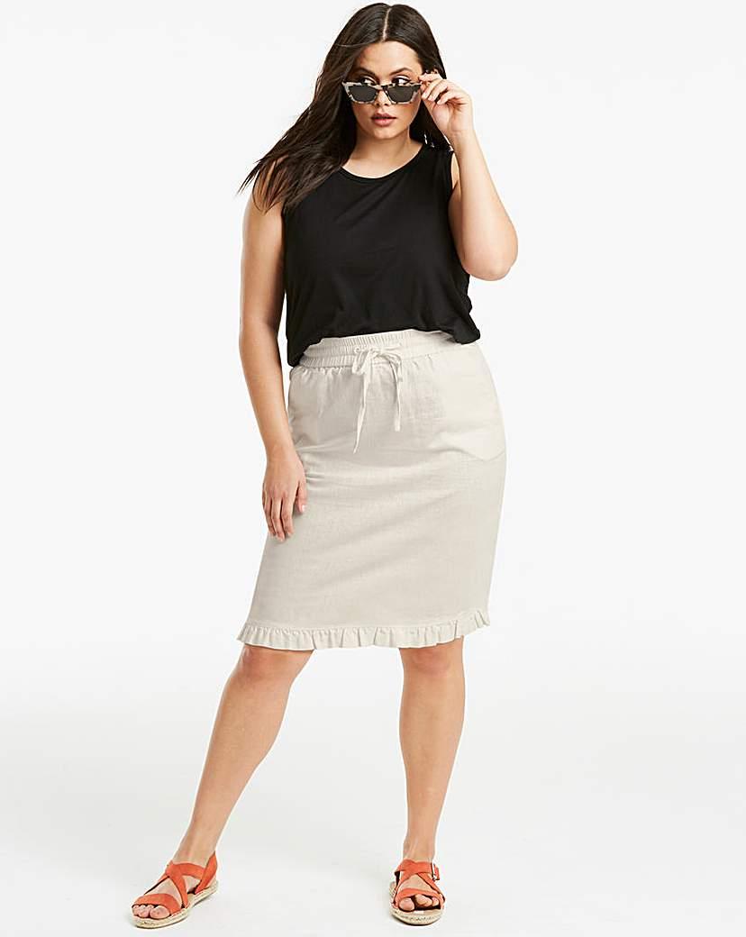 Simply Be Linen Rich Frill Hem Skirt