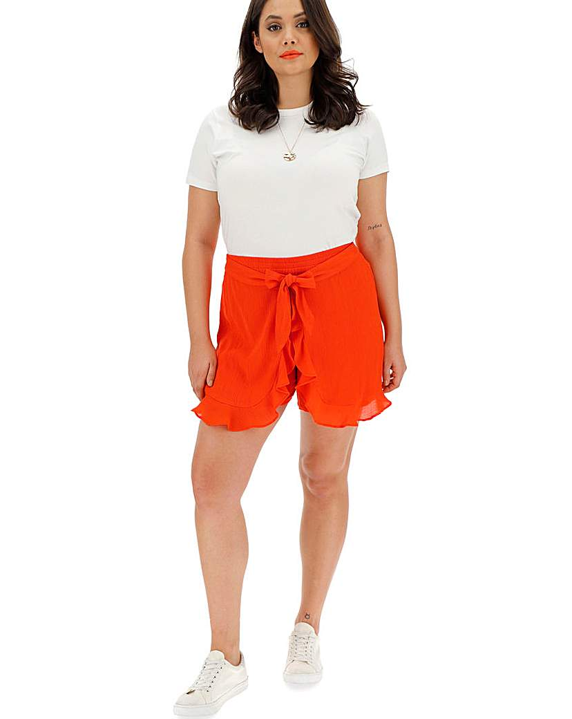 Deep Orange Crinkle Wrap Frill Shorts