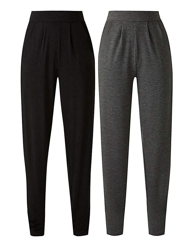 2PK Jersey Tapered Leg Trousers Long