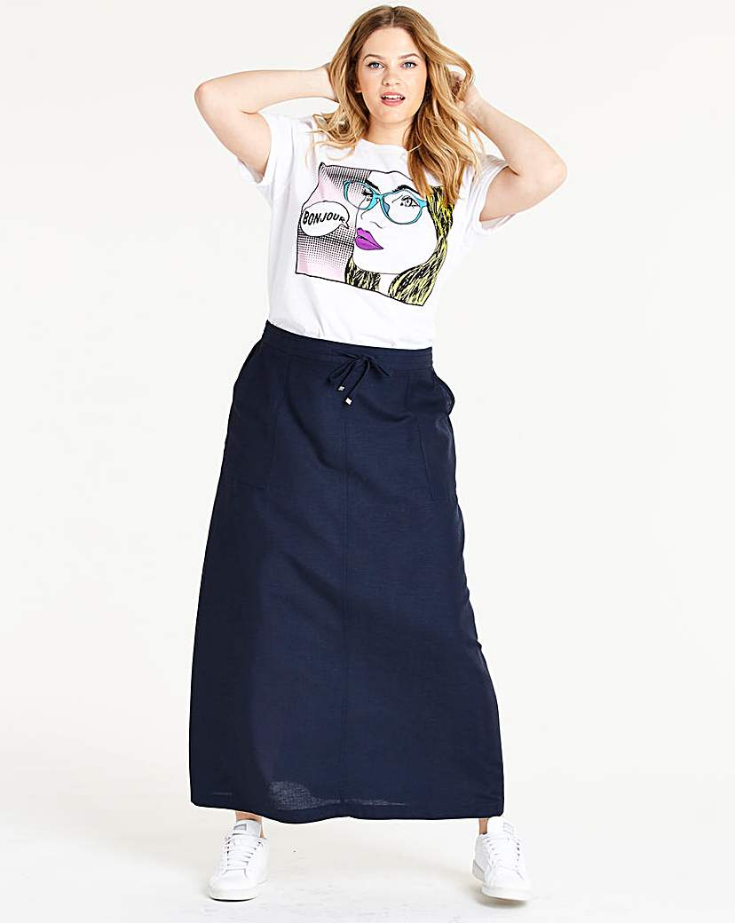 Easy Care Linen Mix Maxi Skirt