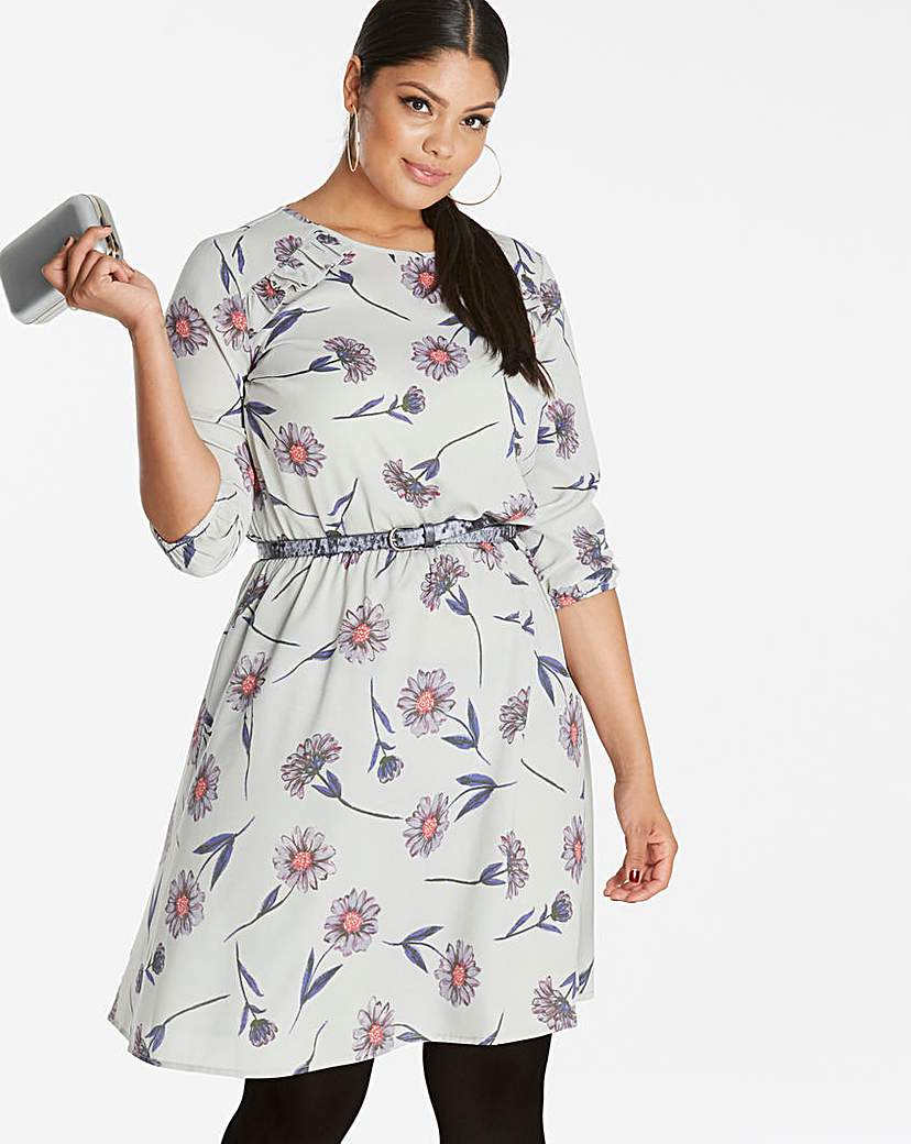 Simply Be Grey Floral Frill Detail Dress