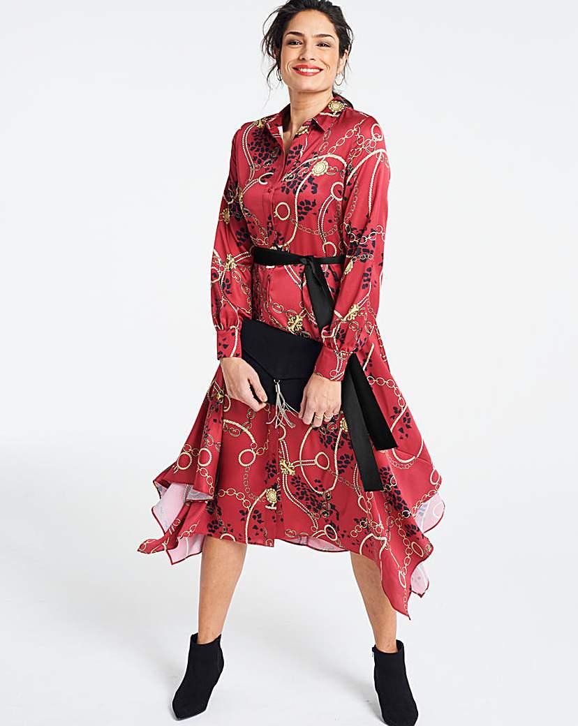 Chain Print Hanky Hem Shirt Dress