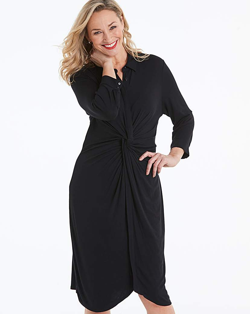 Black Twist Front Jersey Shirt Dress