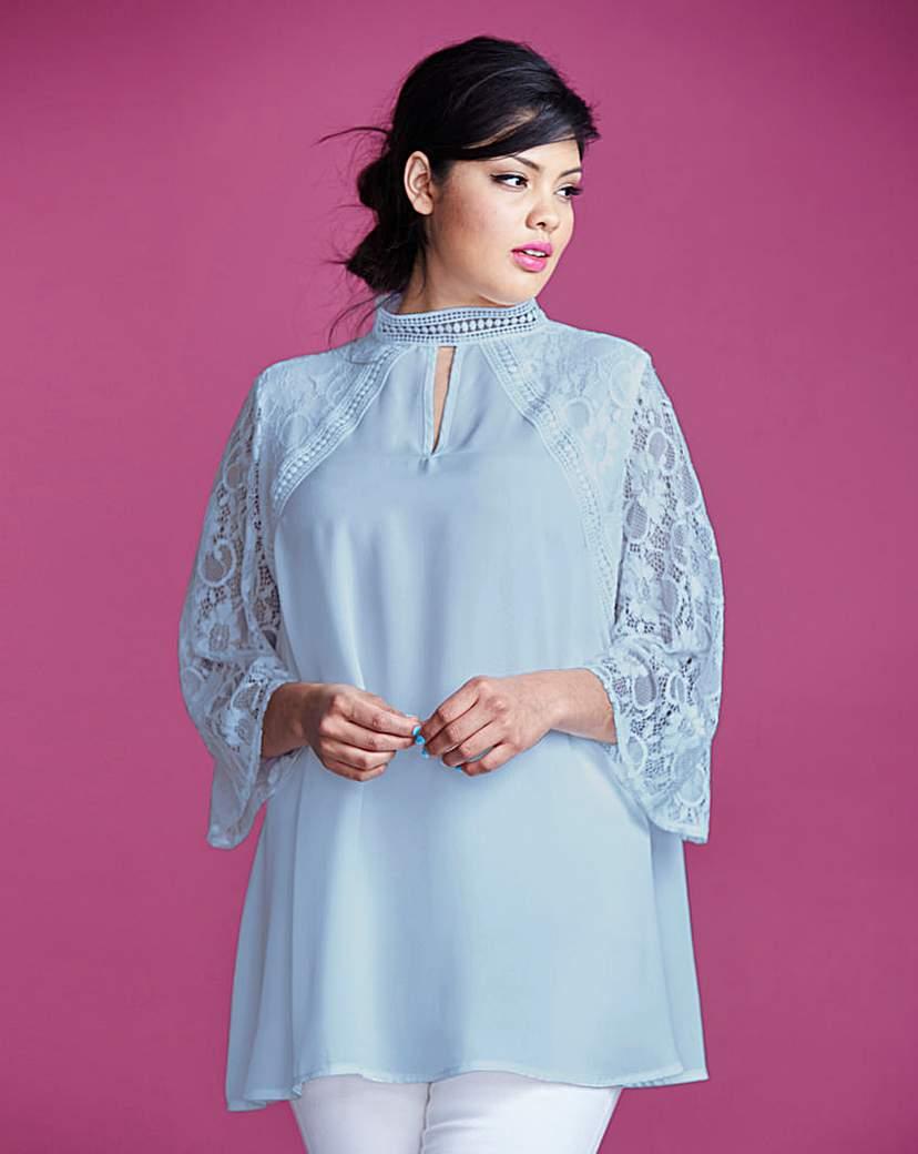 Edwardian Blouses, Ladies White & Black Lace Blouses Simply Be Lace Insert Blouse £12.25 AT vintagedancer.com