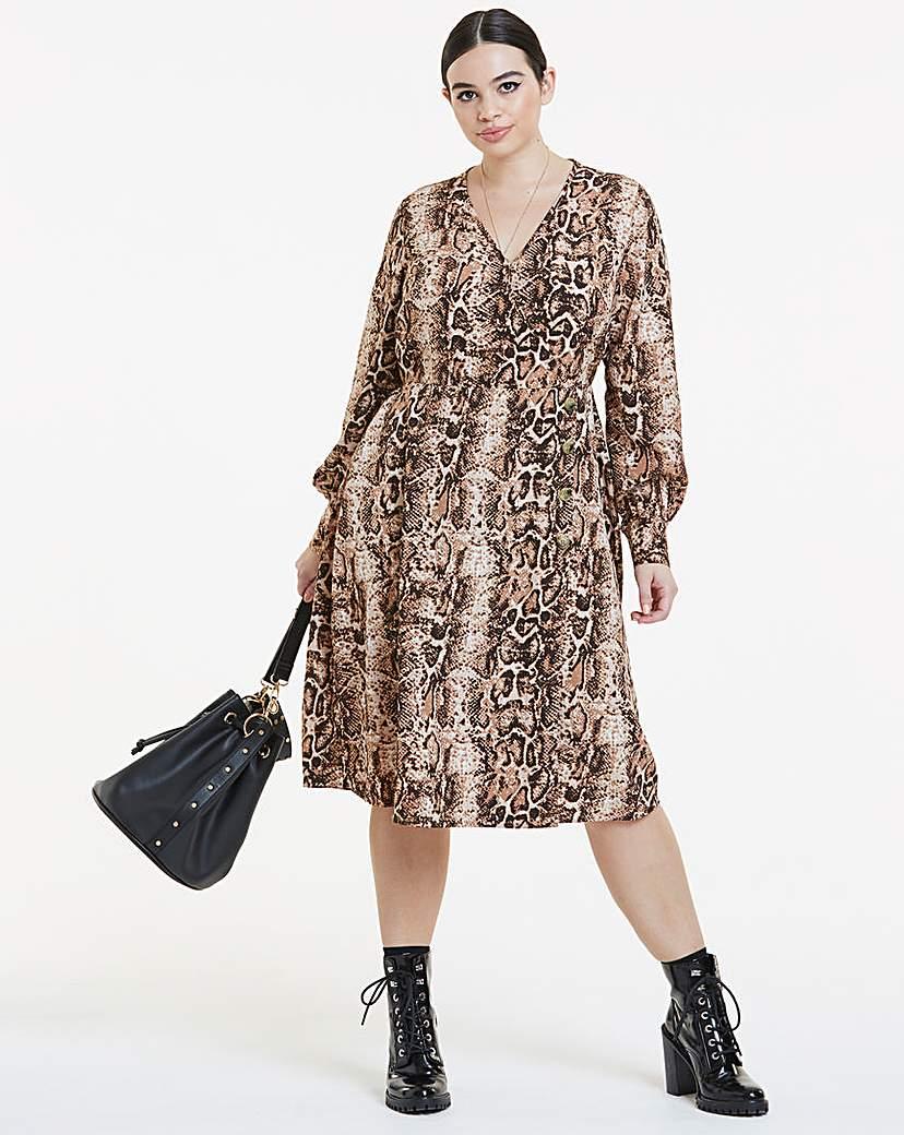 Simply Be Snakeskin Print Button Detail Wrap Dress